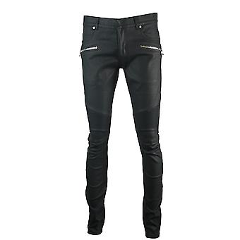 Balmain Skinny Biker Black Coated Effect Jeans