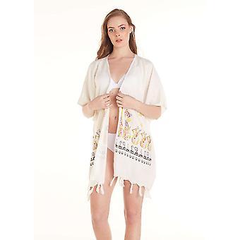 Aqua Perla Kobiety Gina Drukowane Bikini Cover up Beach Dress Cotton