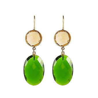 Gemshine Ohrringe grüne Turmalin Quarz Ovale, gelbe runde Citrinen in 925 Silber