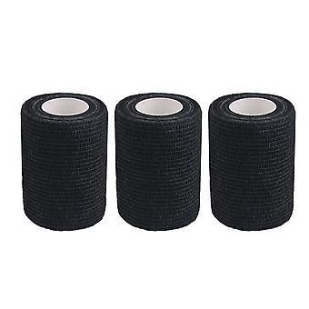 3 PCS 7.4cmx4.5m Self Adherent Cohesive Bandages Black Athletic Tape