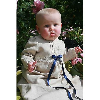 Christening Gown In Linen - Grace Of Sweden - Long Sleeve And 4 Choices Of Bow Colour