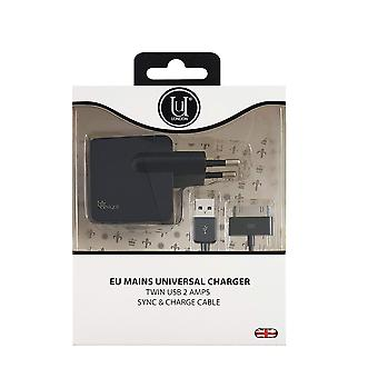 EU Mains Universal Charger Twin USB 2 Amps Sync & Charge Cable