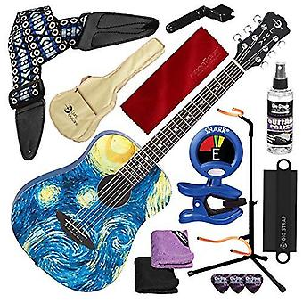 Luna safstr safari starry night spruce top acoustic guitar, translucent blue with guitar stand and deluxe accessory bundle