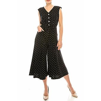 Polka Dotted Wide Leg Jumpsuit