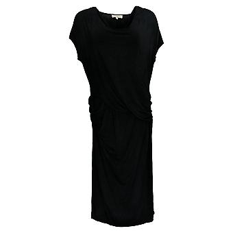 Haute Hippie Women's Dress Cowl Neck Side Slit Short Sleeve Black A379956