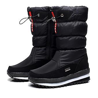 المرأة منصة الشتاء أحذية الثلج سميكة أفخم ماء أحذية غير زلة