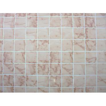Casa de muñecas miniatura 1:12 baño cocina suelo rosa mármol azulejo hoja