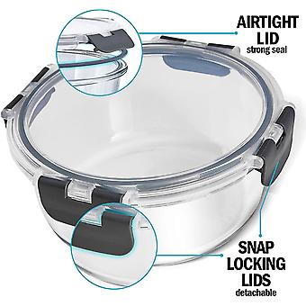 Igluu Meal Prep - Set of 3 Stackable Glass Round Containers - Lunch Box for Food Storage, Freeze