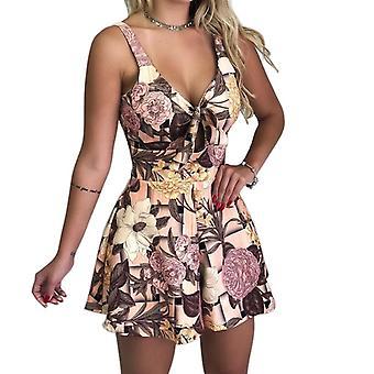 Naiset's Summer Print Jumpsuit Shortsit
