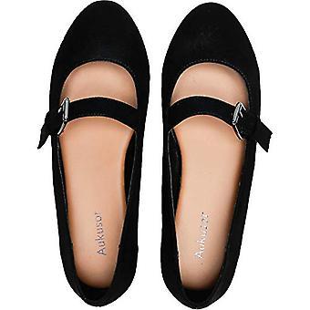 Aukusor Frauen's breite Breite flache Schuhe - gemütliche spitze Zehen Slip auf Ballett flach.