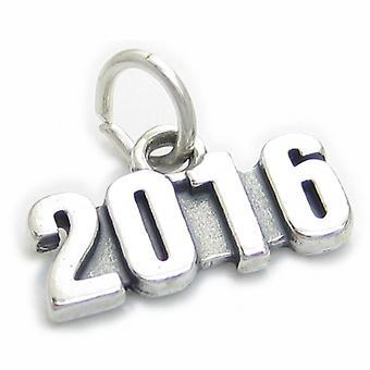 2016 Jahr Sterling Silber Charm .925 X 1 Hochzeit Geburtstag Abschluss - 4011