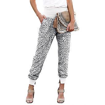 Womens White Leopard Pocket Casual Hose mit Schlitz