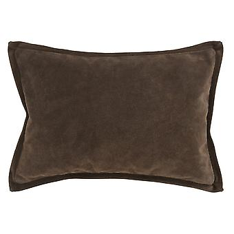 Rectángulo cuero lanzar almohada con bordes con bridas, gris oscuro