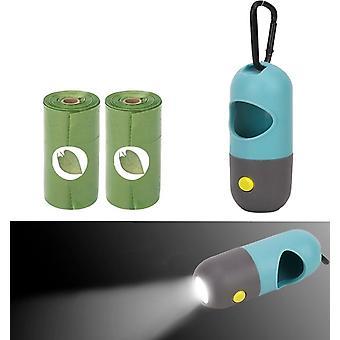 Dispensador de bolsas de caca para perros al aire libre bolsas de basura portátiles para mascotas led luz ecológica