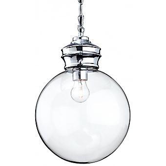 Lámpara Colgante Omar 20 Cm, Cromo Y Cristal.