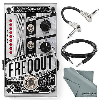 Digitech freqout pedal de creación de retroalimentación natural y paquete accesorio con cables + tela de fibratique