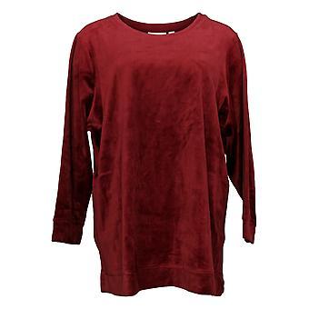 Denim & Co. Women's Petite Sweatshirt Velour Tunic Pockets Red A390300