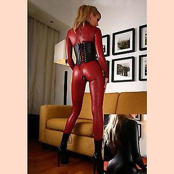 الأحمر مثير المرأة البدلة زيبر، زي فو الجلود مثير Jumpsuit