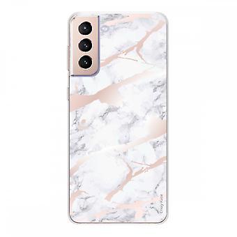 Runko Samsung Galaxy S21 5g silikoni pehmeä 1 mm, vaaleanpunainen marmoritehoste