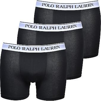 Polo Ralph Lauren 3-Pack White Waiband Boxer Chiloți, Negru