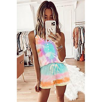 Multi-color Tie-dye Knit Sleeveless Shorts Pajamas Set