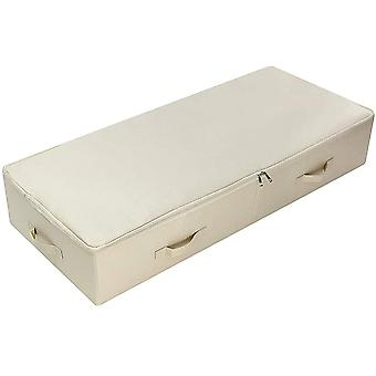 Gerui Ultra Large Under Bed Storage Organizer Box with Lid, Folding Design with 6 Handles, Beige