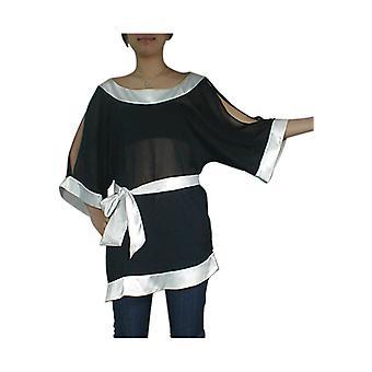 Tyylikäs tähti asymmetrinen kimono tunika top musta