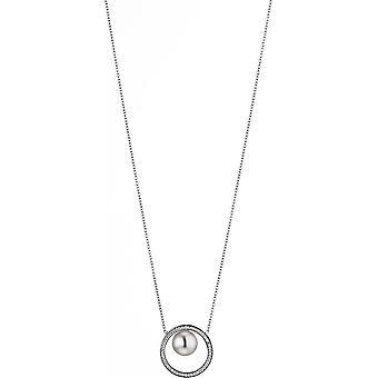 Collana perla Adriana Bianco Freshwater 9-10 mm Zirconia Catena di ancoraggio Argento 45 cm A9