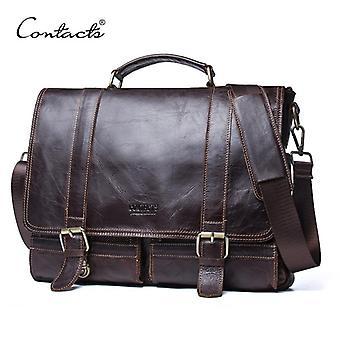 Contact's men's portfölj äkta läder business handväska laptop casual stor axelväska vintage messenger väskor lyxiga bolsas