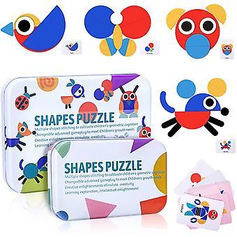 Holzpuzzle fr Kinder, Tangram Montessori Spielzeug 36 Formen Puzzle 60 Musterkarten Sortieren und