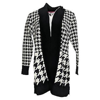 Isaac Mizrahi Live! Women's Sweater Jacquard Cardigan Black A385866