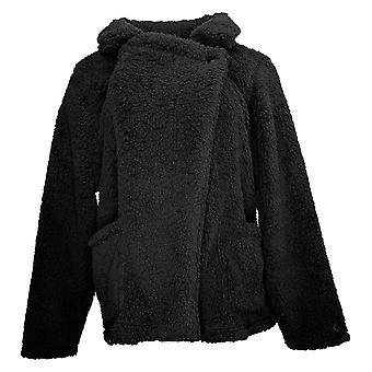 Cuddl Duds mujeres's gran sherpa wrap chaqueta delantera negro A451629