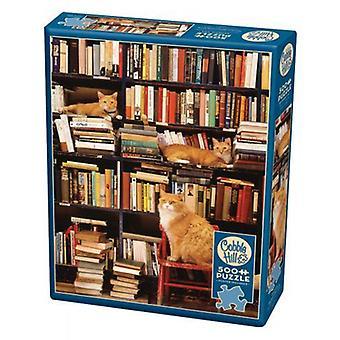 Cobble hill puzzle - gotham bookstore cats - 500 pc