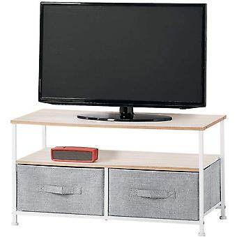 FengChun TV Board mit Ordnungsboxen schmaler Fernsehtisch mit Ablage und 2 Stoffkrben