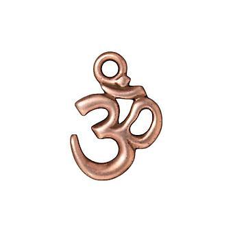 Final Sale - TierraCast Copper Plated Pewter Om / Aum Hindu Pendant 18mm (1)