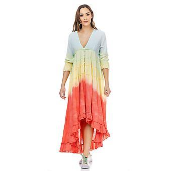 V hals hoog-laag gearceerde jurk