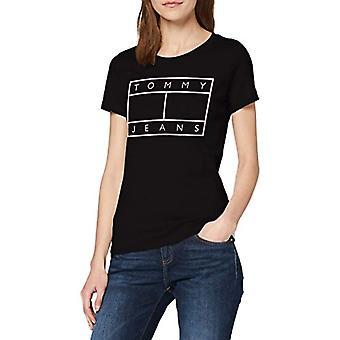 Tommy Jeans Tjw Metallic Flag Tee T-Shirt, Noir (Black Bds), 38 (Taille Unique: X-Small) Femme