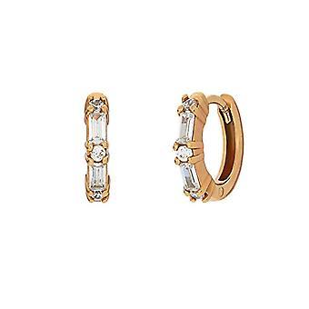 "OELANI - Women's hoop earrings, in gold-plated silver 925 with zircons ""Baguette"
