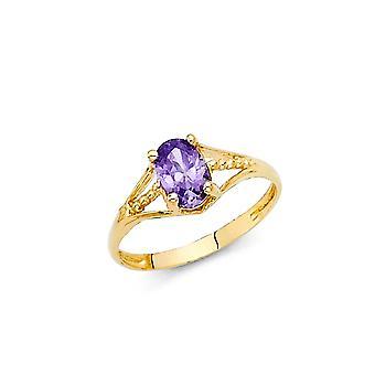 14k geelgoud CZ Cubic Zirconia gesimuleerde diamant feb jongens en meisjes ringmaat 3 - 1,1 gram