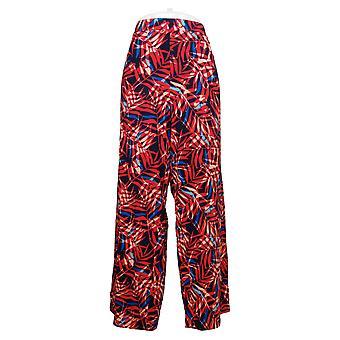Denim & Co. Femmes's Pantalons réguliers plage Pull-On Large-Leg Rouge A376429