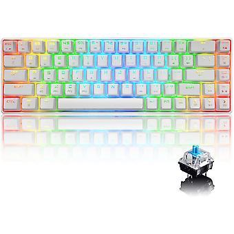 Wokex 60% Echte mechanische Gaming-Tastatur Typ C Verdrahtet 68 Tasten LED Hintergrundbeleuchtung USB wasserdichte Tastatur