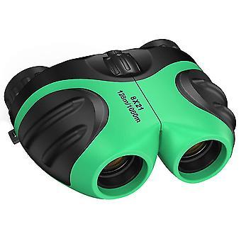 مناظير مدمجة للأطفال، تلسكوب مراقبة صغير في الهواء الطلق مقاوم للصدمات مع حقيبة حمل جلدية،(أخضر)