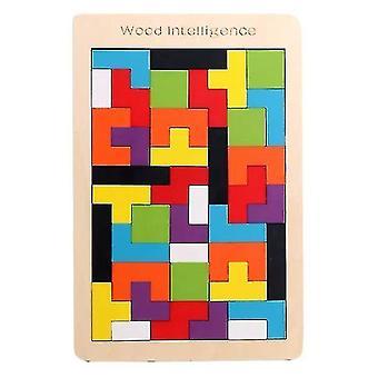 Skladačky puzzle deti drevené stavebné bloky tetris tangram farebné skladačky darček #4991