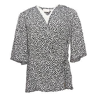 Belle av Kim Grul Kvinner's Topp Hjerte Print Wrap Bluse Hvit A375879