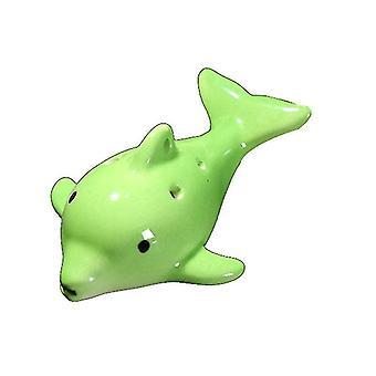 Cartoon Dolphin 6 Hole Ocarina Flute Wind Musical Instrument Flute Ceramic(Green)
