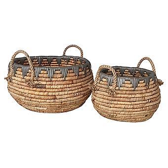 Plutus Brands Water Hyacinth Basket in Brown Natural Fiber Set of 2 - PBTH93301
