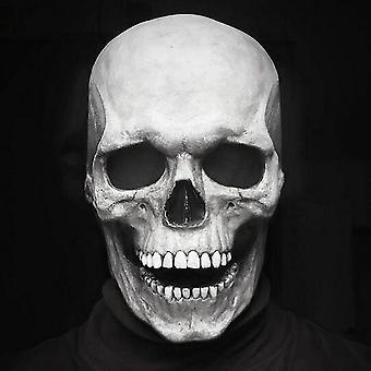 Casco hywell Halloween Skeleton con mandíbula móvil iluminada Máscara de cráneo de cabeza completa