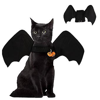 هالوين الحيوانات الأليفة الخفافيش أجنحة القطط ال زي أسود جناح الخفافيش مع ملابس مضحك بيل
