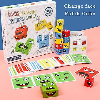 Cube Face Changing Building Blocks Board Game Cartoon Puzzle Montessori Toys Wooden Level Game Thinking Challenge Kids Toys