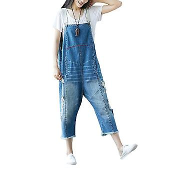 Woman Fringed Jeans Ripped Denim Overalls